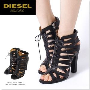 DIESEL Black Gold Gladiator Booties from Italy 39